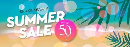 Summer Sale template, web banner. End of season, up to 50 off, vector illustration.