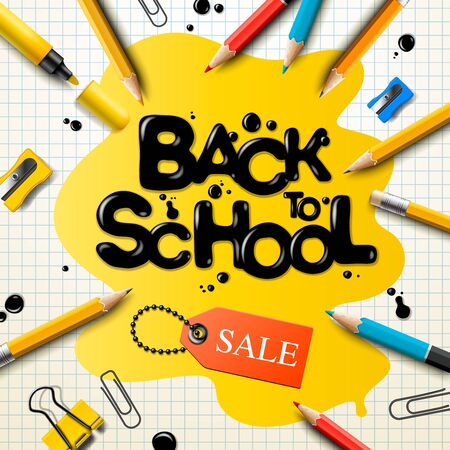 Back to school sale poster and banner with colorful pencils and elements for retail marketing promotion and education related. Vector illustration. Ilustracja