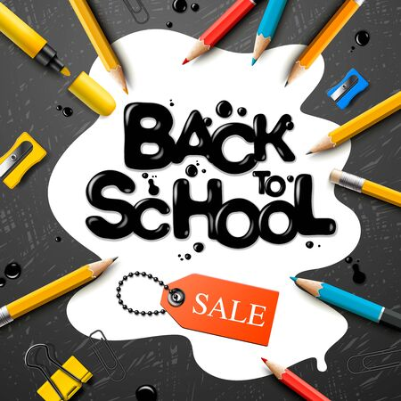 Back to school Sale design with pencils and typography lettering. Vector School illustration for poster, web, cover, ad, greeting, card, social media, promotion. 版權商用圖片 - 128918289