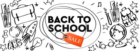 Back to school Sale horizontal banner, doodle background, vector illustration.