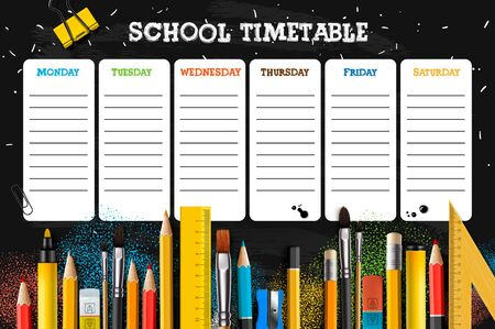 School timetable template for students or pupils. Vector Illustration.