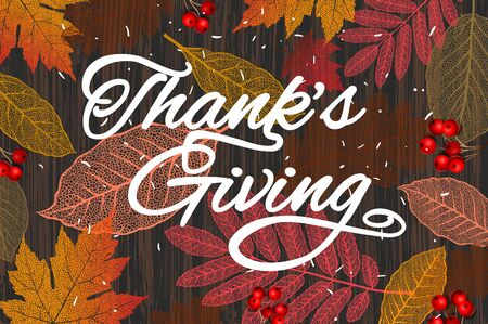 Thanksgiving holiday banner. Autumn tree leaves on wooden background, vector illustration