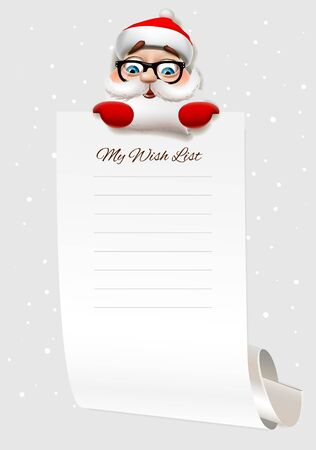 Christmas wish list, Santa Claus character holding big arch of paper. Template for Christmas wishes, vector illustration.