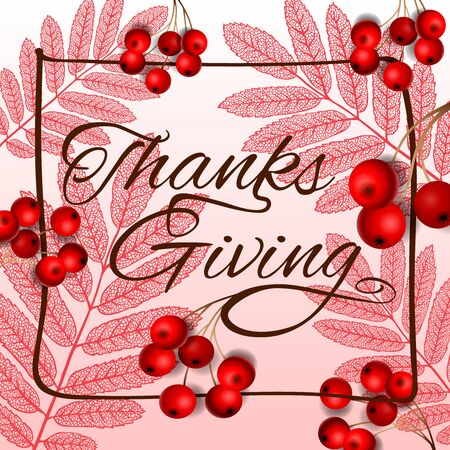 Thanksgiving holiday banner. Autumn tree leaves, vector illustration.