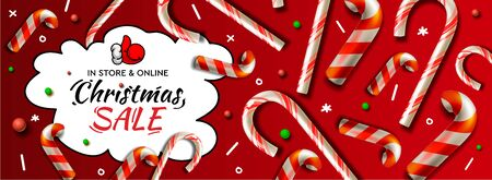 Christmas Sale horizontal banner, vector template with candy cane patterns for online holiday shopping. Vectores