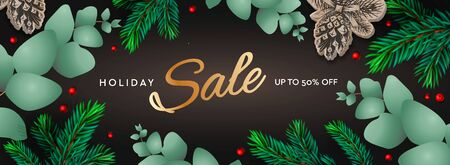 Holiday Sale horizontal poster. Christmas template with branches eucalyptus, spruce branches and berries on dark background. Winter background, vector illustration. Vektorové ilustrace