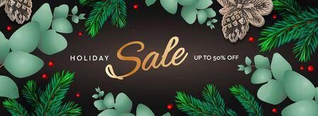 Horizontales Plakat des Feiertagsverkaufs. Weihnachtsschablone mit Zweigen Eukalyptus, Fichtenzweigen und Beeren auf dunklem Hintergrund. Winterhintergrund, Vektorillustration. Vektorgrafik