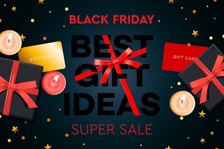 Black Friday Super Sale. Best gift ideas. Black gift box on dark background, design 2020. Vector illustration.