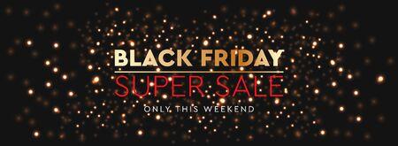 Black Friday Sale. Background bright glare of golden blurred lights, vector illustration