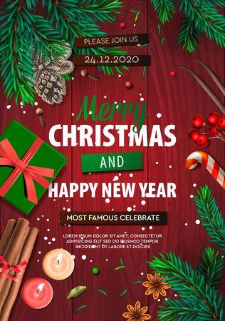 Frohe Weihnachtsbanner, Weihnachtsfeier mit Geschenkbox, grüne Tannenzweige, Bonbons, Anis, Kerzen, Zimt. Holiday Event Poster, Grußkarten, Header, Website. Objekte von oben gesehen.