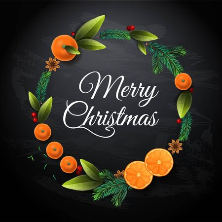 Christmas Wreath with mandarins, oranges fruits, fir tree branches, leaves. Invitation, party, card template, vector illustration. Stock Illustratie