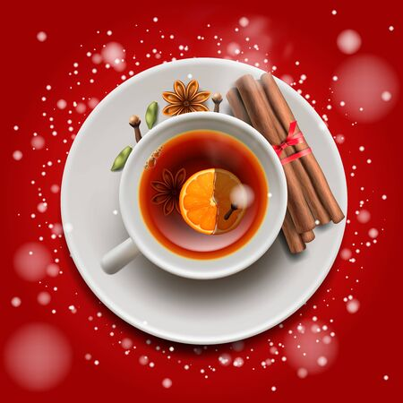 Christmas tea with cinnamon and spices, on red background. Merry Christmas and Happy New Year poster, vector illustration