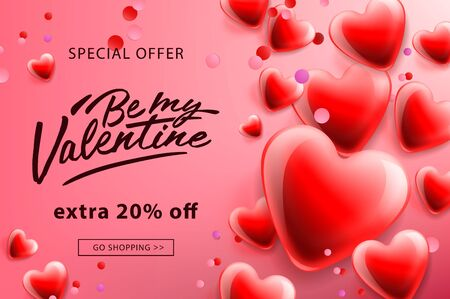 Valentines day sale poster with red hearts background, vector illustration.