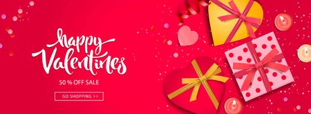 Valentines Day banner. Background design of sparkling lights, realistic gifts box with heart shaped, and glitter gold confetti. Horizontal holiday poster, greeting cards, header, website Imagens - 137800422