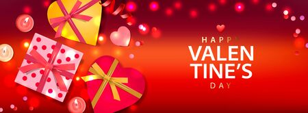 Valentines Day banner. Background design of sparkling lights, realistic gifts box with heart shaped, and glitter gold confetti. Horizontal holiday poster, greeting cards, header, website Imagens - 137800424