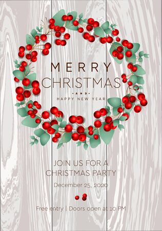 Merry Christmas and Happy New Year poster. Wreath with red berries on white background. Party invitation template, vector illustration.