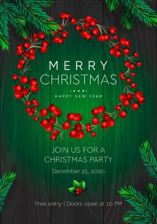 Merry Christmas and Happy New Year poster. Wreath with red berries on green background. Party invitation template, vector illustration. Ilustrace