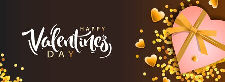 Valentines Day banner. Background design of realistic gifts box with heart shaped and golden confetti. Horizontal holiday poster, greeting cards, header, website Ilustrace