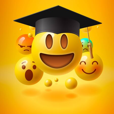 Emoticons in graduation hat. Educational resources, online learning courses, distance education, university degree, graduation hat, e-learning tutorials, vector illustration. Illustration
