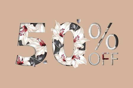 50 percent off lettering handmade with lily flower decoration. For Sale discount, Poster Banner Background, Sign and symbol. Luxury unique style. Vector illustration