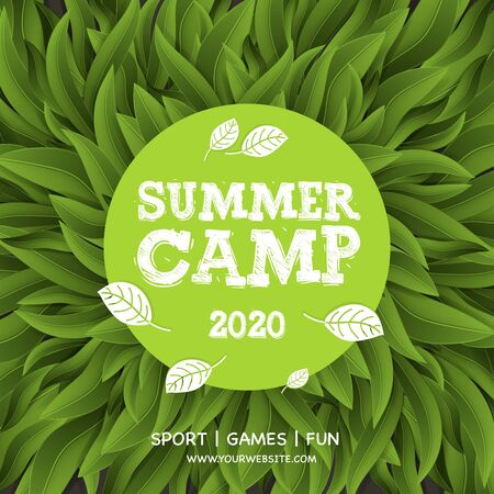 Summer Camp poster, Summer Holiday and Travel themed, Eco Camp, vector illustration