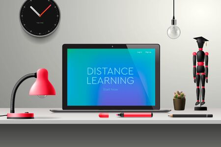Distance learning online education, workplace at home, vector illustration