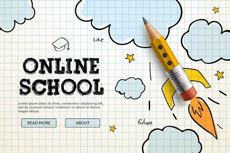 Online School. Digital internet tutorials and courses, online education, e-learning. Web banner template for website, landing page and mobile app development. Doodle style vector illustration Ilustração
