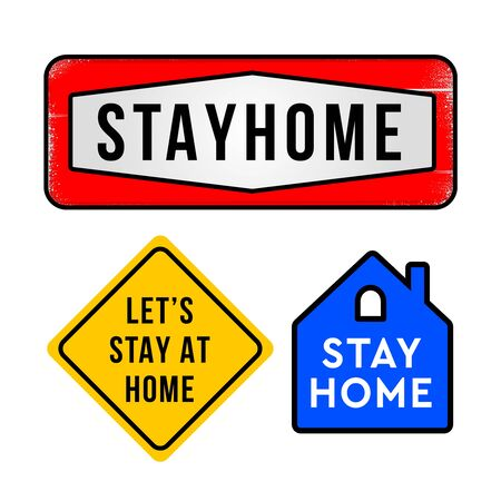 Stay home, home sticker set, symbol, vector illustration.
