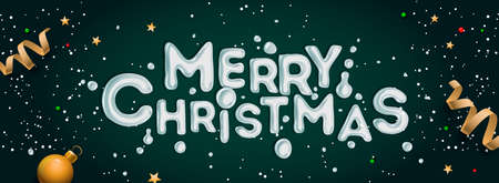 Merry Christmas banner. Horizontal Christmas poster, greeting cards, headers, website, vector illustration. Illusztráció