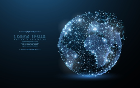 Globe, polygonal wireframe mesh icon with crumbled edge looks like constellation. Concept illustration or background.