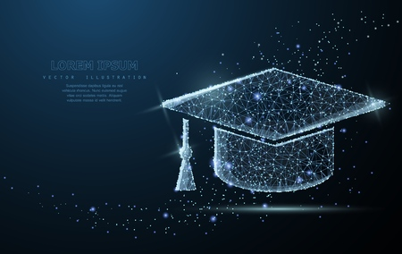 Gorro graduado. La malla de malla poligonal parece una constelación. Educación, universidad, ilustración de éxito o antecedentes