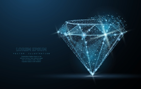 Diamond. Low poly wire frame mesh with crumbled edge and looks like constellation on blue night sky with dots and stars.