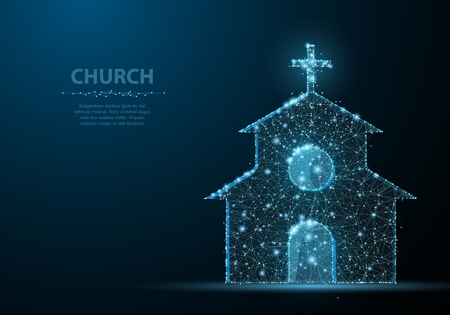 Church building. Polygonal wireframe mesh on blue night sky night sky with dots, stars and looks like constellation. Illustration or background