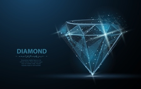Diament. Biżuteria, klejnot, luksus i bogaty symbol, ilustracja lub tło