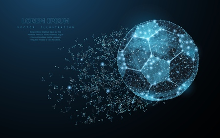 Soccer ball. Low poly wireframe mesh on dark blue background. Soccer symbol, illustration or background