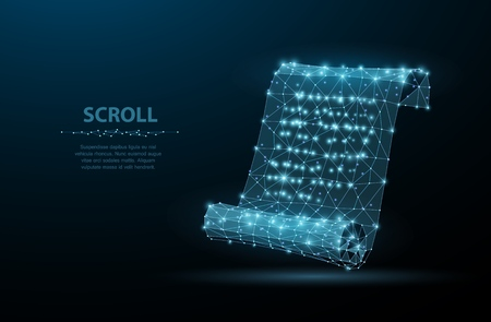 Scroll. Low poly wireframe mesh looks like constellation on blue night sky with dots and stars. Vintage, message symbol, illustration or background