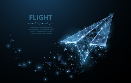 Paper airplane. Polygonal mesh art looks like constellation. Concept illustration or background