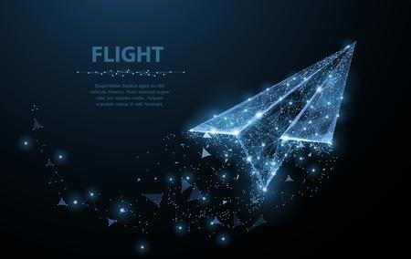 Avion en papier. L'art du maillage polygonal ressemble à une constellation. Illustration ou arrière-plan du concept