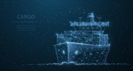 Buque de carga mundial. Arte de malla de estructura metálica poligonal. Transporte, logística, ilustración del concepto de envío o antecedentes