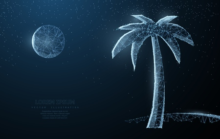 Abstract wire low poy palm nature summer beach silhouette illustration on dark blue background with stars. Ilustração