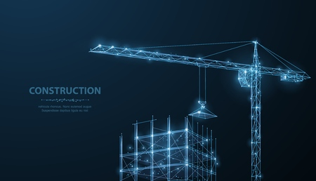 Construction. Polygonal wireframe building under crune on dark blue night sky with dots, stars.