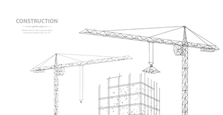 Construction. Polygonal wireframe building under crune isolated on white. Drawing, graphics. Ilustração