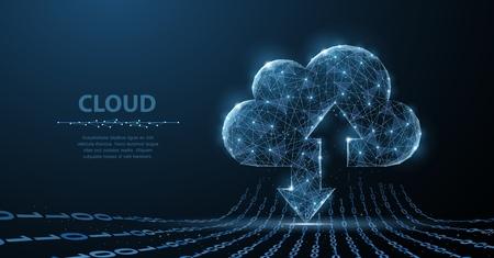 Tecnología en la nube. El arte poligonal de estructura metálica parece una constelación. Ilustración del concepto o antecedentes