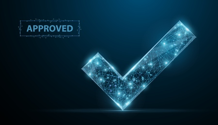 Approved. Low poly wireframe approved sign with dots and stars. Illustration or background