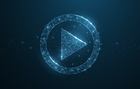 Play video. Polygonal wireframe play icon looks like constellation on dark blue night sky with dots and stars. Video, movie, player or other concept illustration or background