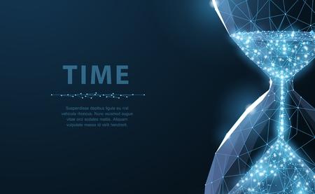 Reloj de arena. El reloj de arena de estructura metálica de baja poli parece una constelación sobre un fondo azul oscuro con puntos y estrellas. Tiempo, cuenta regresiva, ilustración de concepto de fecha límite o fondo
