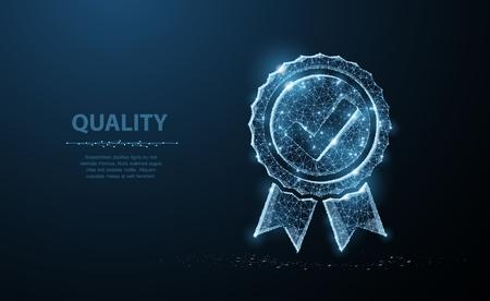 Low poly Quality icon check. Stock Illustratie