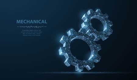 Gears. Abstract vector wireframe two gear 3d modern illustration on dark blue background. Mechanical technology machine engineering symbol. Industry development, engine work, business solution concept Çizim