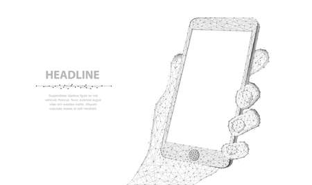 Mobile phone. Abstract polygonal wireframe closeup phone with blank white empty screen in holding man hand isolated on white. Illustration or background. Communication app smartphone concept