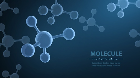 Molecule. Abstract futuristic micro molecule structure with sphere on blue background. Standard-Bild - 118451601